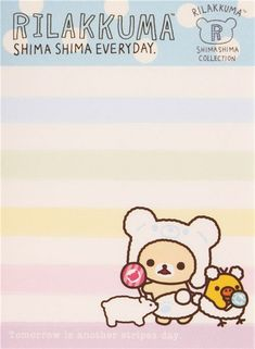 colorful striped Rilakkuma bear Shima Shima Everyday mini Note Pad San-X 3