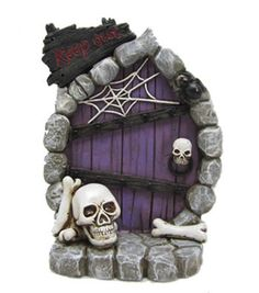 Maker's Halloween Littles Resin Door With Skulls & Spiderweb Halloween Village Display, Casa Halloween, Polymer Clay Halloween, Halloween Fairy, Halloween Skull, Halloween Crafts, Halloween Decorations, Pretty Halloween, Halloween Makeup