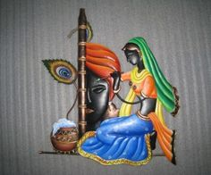 Radha Krishna painting poster wide wallpaper