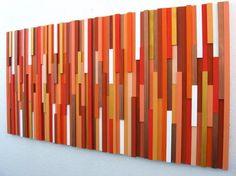 Orange Wall Art, Wooden Wall Sculpture, Modern Decor, Home And Living  $525.00