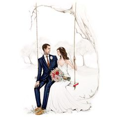 Floating through those gorgeous ghostly gum trees, the perfect backdrop for newlywed photos & so lovely to capture with my pencils… Wedding Drawing, Wedding Dress Sketches, Wedding Painting, Love Cartoon Couple, Cute Couple Art, Wedding Illustration, Couple Illustration, Wedding Images, Wedding Cards