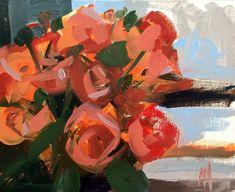 Orange Spray Roses Original Oil Painting by Angela Moulton 8 x 10 inch pre-order