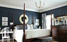 With blue walls, slate blue bedrooms, slate blue walls, dark master bedroom Slate Blue Bedrooms, Navy Bedrooms, Blue Master Bedroom, Blue Rooms, White Bedroom, White Bedding, Pretty Bedroom, Master Bedrooms, Brown Bedrooms