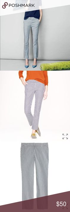 J. Crew Seersucker Campbell Capri Pant J.Crew Seersucker Campbell Capri, gorgeous ankle length Pant in lightweight 100% cotton Seersucker in navy and white with pockets! NWOT, pockets still stitched closed and remove before wearing tag in tact. Great for the office or happy hour! J. Crew Pants Ankle & Cropped
