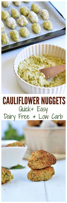 Baked cauliflower nuggets take 10 minutes to prepare, 20 minutes to bake and are super heathy as finger food dinner, appetizers or for kids lunchbox. It is moist and crispy! Dairy free and low carb with a gluten free and paleo recipe option. Dairy Free Recipes, Baby Food Recipes, Gluten Free Recipes, Low Carb Recipes, Whole Food Recipes, Vegetarian Recipes, Cooking Recipes, Healthy Recipes, Easy Cooking