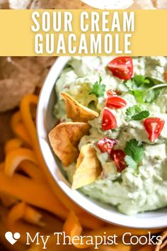 This sour cream guacamole features grated onion and garlic for tons of flavor + no chunks, and lime juice and fresh tomatoes for delicious pico + guac flavor mixed into one. If you love guacamole, you will LOVE this version. #mexican #mexicanfood #guacamole #guacamolerecipe #dip Guacamole Recipe, Vegetarian Mexican, Mexican Food Recipes, Ethnic Recipes, Gluten Free Recipes For Dinner, Dinner Recipes, Mexican Sour Cream, Classic Restaurant