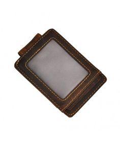 Leather Window Pocket Wallet - Id Window Dark Brown - Leather Money Clip Wallet, Pocket Wallet, Dark Brown, Window, Slim, How To Make, Gifts, Black, Wallet