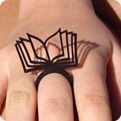Anel Páginas ao Vento book ring