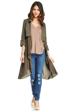 Line & Dot Flowy Trench Coat at DAILYLOOK.com