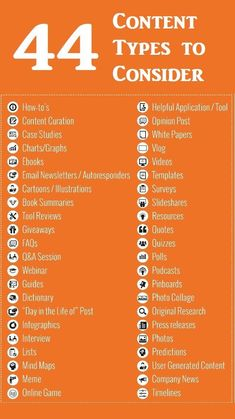 Marketing Strategy Discover 44 Types of Content You Can Use to Promote Your Product Service Business or Self 44 Content Types for Promoting Your Product Service Business - and Even Yourself [Infographic] Social Marketing, Content Marketing Strategy, Inbound Marketing, Internet Marketing, Online Marketing, Affiliate Marketing, Mobile Marketing, Marketing Software, Small Business Marketing