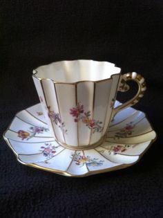 Antique Coalport Cabinet Cup  Saucer