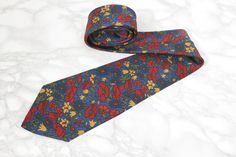 Poppy Print Blue Silk Neck Tie • Liberty of London • Designer Vintage Gifts For Him • Dad Gift • Fathers Day Gift • Mens Vintage Accessories by Venelle on Etsy