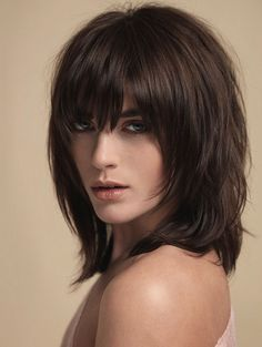 Medium layered haircuts with bangs 2016 Layered Haircuts With Bangs, Medium Layered Haircuts, Short Hair With Bangs, Medium Hair Cuts, Short Hair Cuts, Medium Hair Styles, Curly Hair Styles, Shaggy Haircuts, Haircut Bob