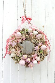 Купить Пасхальная композиция - венок - бледно-розовый, Пасха, пасхальный декор, пасхальная композиция