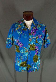 c5543ff8e9 Vintage Ahi Nani Blue Cotton Retro Floral Print Hawaiian Aloha Shirt - 48   AhiNani  Hawaiian  Doyoureallyneedone
