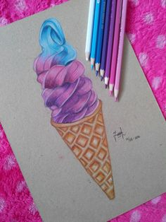 Ombre ice cream drawing done by me ♥ Visit my instagram to see more drawings!^^                                                                                                                                                                                 More