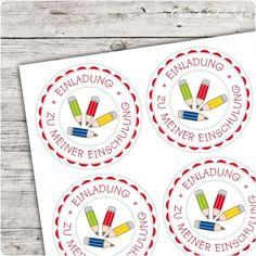 """Motivaufkleber Stifte """"Einladung zu meiner Einschulung"""" - toll für Einladungskarten zur Einschulung I Schulanfang I Casa di Falcone"""