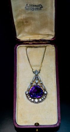 circa 1915 An antique Russian necklace features a superb, deep royal purple Siberian amethyst of an unusual pear shape. The amethyst is framed by sparkling Art Deco Jewelry, Jewelry Gifts, Fine Jewelry, Jewelry Necklaces, Jewellery Box, Jewellery Shops, Bridal Jewellery, Kerala Jewellery, Cameo Jewelry