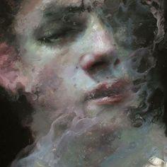 "Henrik Uldalen, Detail of a ""Anemoi"". Oil on wood, 2016 Portrait Sketches, Portrait Art, Figure Painting, Painting & Drawing, Henrik Uldalen, Spoke Art, Aesthetic Art, Dark Art, Art Inspo"
