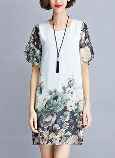 Dresses - $55.99 - Chiffon Floral Half Sleeve Above Knee Vintage Dresses (1955110991)