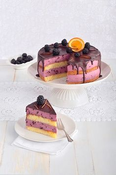 Brombeer-Stracciatella-Torte - Sweet Dreams Blog Blackberry Cake, Sweet Dreams, Tiramisu, Cake Recipes, Waffles, Cheesecake, Ice Cream, Sweets, Cookies