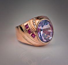Vintage Russian Amethyst 14K Gold Ring