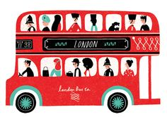 A Routemaster bus full of London's most favourite characters. The designer has used silkscreen printing, collage and painting, to create an image full of colour, texture and shapes.