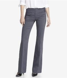 PINSTRIPED WIDE WAISTBAND FLARE EDITOR PANT | Express #womens #business #fashion #express
