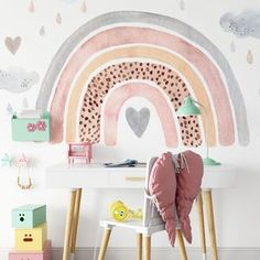 Home Decoration Color .Home Decoration Color Rainbow Wallpaper, Nursery Wallpaper, Little Girl Rooms, Girl Kids Room, Boy Room, Cheap Home Decor, Room Inspiration, Interior Inspiration, Nursery Decor