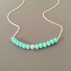 Bright Summer Necklace  Aqua Pendant Bar by SarahSLJewellery