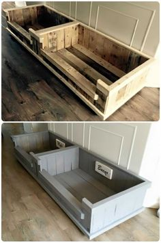 Pallet Dog Basket: Painted or Not? Which One Do You Prefer? Animal Pallet Houses & Pallet Supplies