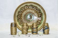 ~ click pe site pentru a cumpăra ~ ❁ ~ Cue condiment bottles decorated so good that you won't recognize them anymore. this is a photo in which I show how many designs you can do only with rope and acrylic paint.