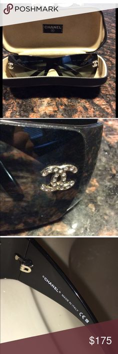 CHANEL SUNGLASSES Like new Chanel sunglasses.  PLEASE NOTE THERE ARE SIGNS OF WEAR ON THE SUNGLASSES CASE!  The sunglasses themselves are in beautiful shape.  100% authentic Chanel sunglasses with beautiful rhinestone embellished Chanel logo CHANEL Accessories Sunglasses