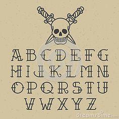 Old school tattoo alphabet