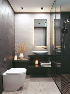 Dreaming of an extra or designer bathroom? We have gathered together lots of gorgeous master bathroom tips for small or large budgets, including baths, showers, sinks and basins, plus master bathroom decor some ideas. Grey Bathroom Interior, Modern Marble Bathroom, Half Bathroom Decor, Modern Bathroom Design, Simple Bathroom, Latest Bathroom Designs, Mirror Bathroom, Bathroom Ideas, Lavabo Design