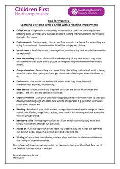 PDF with advice on home-schooling children with hearing impairments. Hearing Impairment, Service Learning, Free Space, Hearing Aids, Home Schooling, The Help, Homeschool, Pdf, Advice