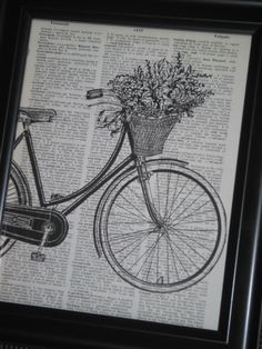Bicycle Print Old Dictionary Book Art Page by HamiltonHousePrints, $8.00
