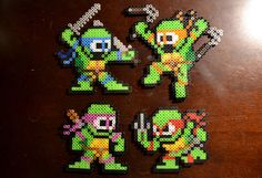 Teenage Mutant Ninja Turtle Magnet Set 1  Pixel Bead by PixelNerds, $18.99