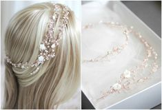 Bespoke-for-Megan-rose-gold-wedding-headpiece-with-double-strand