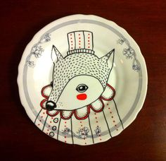 Hand Illustrated Plate, illustrated porcelain, fox illustration, illustrated house ware, Christmas present
