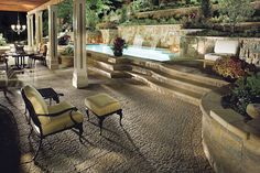 A Knockout Outdoor Living Space! I want this in my backyard! Patio, Pool, Wall, & More