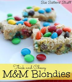 Thick and Chewy M and M Blondies on SixSistersStuff.com