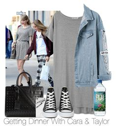 """""""Getting Dinner With Cara & Taylor"""" by zarryalmighty ❤ liked on Polyvore featuring T By Alexander Wang, Yves Saint Laurent, Case Scenario, Converse, taylorswift and CaraDelevingne"""