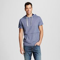 Men's Short Sleeve Hoodie Navy XL - Mossimo Supply Co., Blue