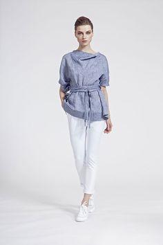 IMRECZEOVA SS16 grey linen belted top