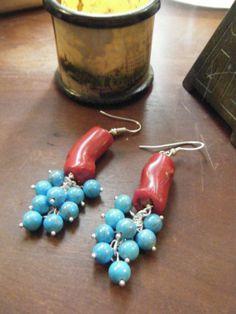 Rosso corallo Cluster turchese orecchini di roxcraft su Etsy, $45.00