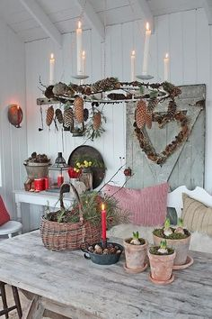 VIBEKE DESIGN: JUL in orangery! similar great projects and ideas as in the picture … - Diy Winter Deko Decoration Christmas, Christmas Interiors, Noel Christmas, Scandinavian Christmas, Country Christmas, Xmas Decorations, Winter Christmas, All Things Christmas, Christmas Crafts