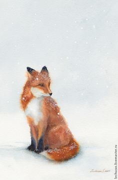 Svetlana Markina (LechuzaS) ( scene based on photo). Fox Painting, Painting Snow, Watercolor Fox, Watercolor Paintings, Fox In Snow, Middle School Art Projects, Fox Drawing, Watercolor Christmas Cards, Snow Art