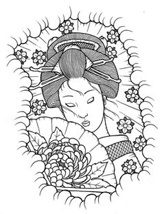 Find and save ideas about Uncolored geisha tattoo stencil on Tattoos Book. More than FREE TATTOOS Japanese Quilt Patterns, Japanese Quilts, Colouring Pages, Adult Coloring Pages, Coloring Books, Line Art Images, Geisha Art, Japanese Drawings, Tattoo Stencils