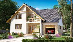 Projekt domu z poddaszem BW-10 wariant 5 o pow. 131,2 m2 z garażem 1-st., z dachem dwuspadowym, z tarasem, z wykuszem, sprawdź! Micro House, My House, Nordic Home, Home Fashion, House Plans, Cool Designs, Exterior, House Design, Mansions